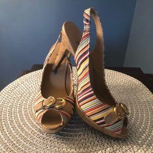 7cad6f64a840 Miss Bisou Striped Heels